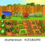 fruits and vegetables garden | Shutterstock .eps vector #415186390