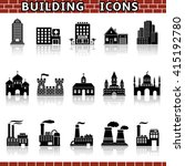 building icons with reflection | Shutterstock . vector #415192780