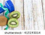 blue stethoscope and dumbbell... | Shutterstock . vector #415193014