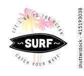 vintage watercolor summer surf... | Shutterstock .eps vector #415193038