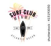 vintage watercolor summer surf... | Shutterstock .eps vector #415193050