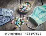 drugs pill on wooden spoon for... | Shutterstock . vector #415197613