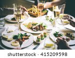 people are having lunch or... | Shutterstock . vector #415209598