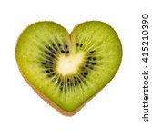 half a kiwi fruit in heart... | Shutterstock . vector #415210390