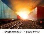 container trains logistic...   Shutterstock . vector #415215940