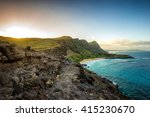 Stock photo part of oahu south shore including makapuu beach near sea life park from lookout during sunset 415230670