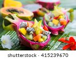 exotic fruit salad served in... | Shutterstock . vector #415239670