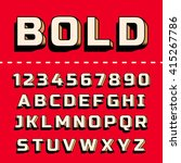 vector retro 3d font with... | Shutterstock .eps vector #415267786
