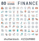 set vector line icons in flat... | Shutterstock .eps vector #415269880