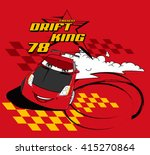 drift king. vector cartoon car... | Shutterstock .eps vector #415270864