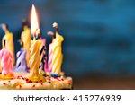closeup of some unlit candles... | Shutterstock . vector #415276939