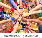 hands on top each other sport... | Shutterstock . vector #415281460