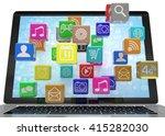 icon app fall in laptop. 3d... | Shutterstock . vector #415282030