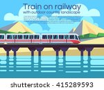 train on railway with outdoor... | Shutterstock .eps vector #415289593