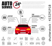 car service flat icon set. auto ... | Shutterstock .eps vector #415291918