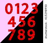 numbers set  red abstract... | Shutterstock .eps vector #415298950