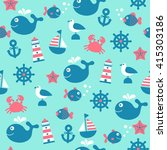 childish vector nautical... | Shutterstock .eps vector #415303186