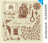 pirate sketches. layered vector ... | Shutterstock .eps vector #415343509