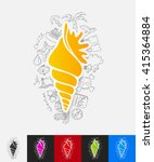 shell paper sticker with hand... | Shutterstock .eps vector #415364884