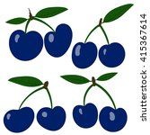 vector plums. collection blue... | Shutterstock .eps vector #415367614