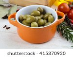 green olives in the bowl with... | Shutterstock . vector #415370920