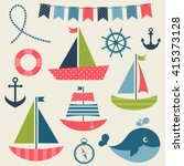 colorful sea transport set.... | Shutterstock . vector #415373128
