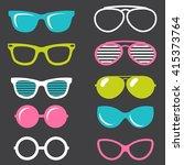 colorful retro sunglasses set | Shutterstock .eps vector #415373764
