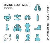 set of scuba diving equipment   ...   Shutterstock .eps vector #415374454