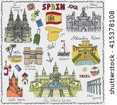 spain doodle landmarks.vector... | Shutterstock .eps vector #415378108