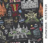 spain doodle landmarks.vector... | Shutterstock .eps vector #415378114