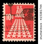 Small photo of ZAGREB, CROATIA - SEPTEMBER 06: United States stamp used for overseas air mail deliveries showing air mail symbols and the print U.S. Air Mail, circa 1968, on September 06, 2014, Zagreb, Croatia