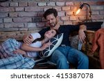 loving couple relaxing at home... | Shutterstock . vector #415387078