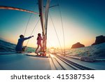 couple sailing in the tropical... | Shutterstock . vector #415387534