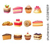 cakes pastry and sweet desserts ... | Shutterstock .eps vector #415389859