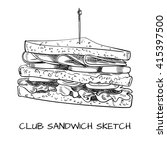 club sandwich outline drawing.... | Shutterstock .eps vector #415397500