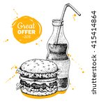 vector vintage fast food... | Shutterstock .eps vector #415414864