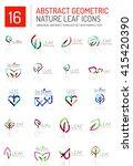 geometric leaf icon set. thin... | Shutterstock .eps vector #415420390