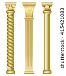 three gold support columns in... | Shutterstock .eps vector #415421083