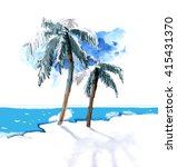 watercolor palm trees...   Shutterstock . vector #415431370