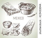mexican traditional food. hand... | Shutterstock .eps vector #415433044