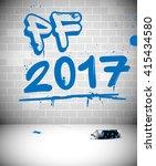 Blue Graffiti On Brick Wall  ...