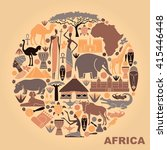 traditional symbols of africa... | Shutterstock .eps vector #415446448