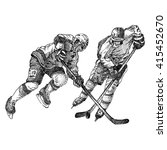 hockey players   engraving | Shutterstock .eps vector #415452670
