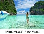 woman in beautiful lagoon at ... | Shutterstock . vector #41545936