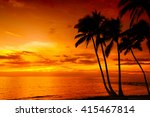 golden tropical sunset with... | Shutterstock . vector #415467814