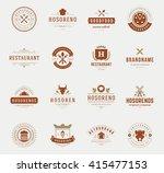 vintage restaurant logos design ... | Shutterstock .eps vector #415477153
