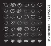 big set of chalk hearts hand... | Shutterstock . vector #415493728