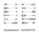 hand drawn arrows with feathers ... | Shutterstock . vector #415493779