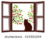 Vector Cat In The Window And...