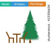 flat design icon of park seat...